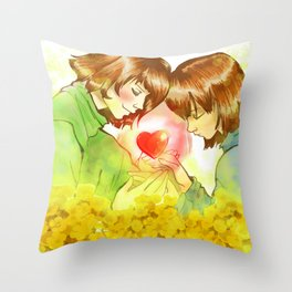 Frisk n Chara  Undertale Throw Pillow