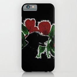Black Lab In A Flower Garden iPhone Case