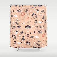 tatoo Shower Curtains featuring Bad cats by Benoit Drigny