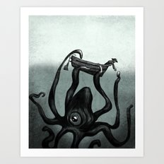 Captain and the Seamonster  Art Print