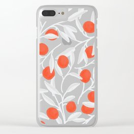 Oranges and leaves pattern Clear iPhone Case