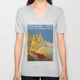 Atlantic City New Jersey - Retro Travel Unisex V-Neck