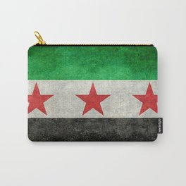 Independence flag of Syria, vintage retro style Carry-All Pouch