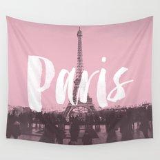 Pink Paris Eiffel Tower Wall Tapestry