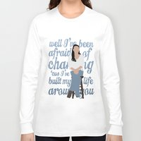 glee Long Sleeve T-shirts featuring Brittana - Glee - Santana Lopez [Solo] Landslide typography minimalist design by Hrern1313