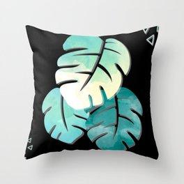 Tropical Monstera Tie Dye Blues Throw Pillow