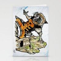 rocket raccoon Stationery Cards featuring Rocket Raccoon and Groot by artbyteesa