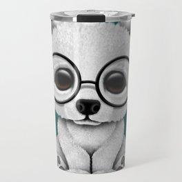Cute Polar Bear Cub with Eye Glasses on Teal Blue Travel Mug