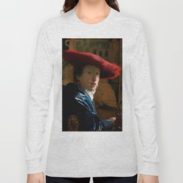 """Johannes Vermeer """"Girl with a Red Hat"""" Long Sleeve T-shirt"""