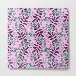 Pressed flowers and leaves pink and green Metal Print