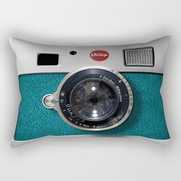 Blue Teal retro vintage camera with germany lens Rectangular Pillow