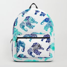 Boho turquoise blue ombre watercolor hand drawn mandala elephants pattern Backpack