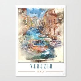 Venezia - Water Taxi Watercolour Canvas Print