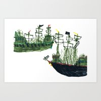 ships Art Prints featuring Ships by kiwiroom