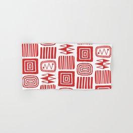 Retro Mid Century Modern Check Pattern 240 Red Hand & Bath Towel