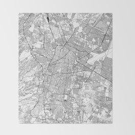 Mexico City White Map Throw Blanket