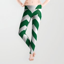 Cadmium green - green color -  Zigzag Chevron Pattern Leggings