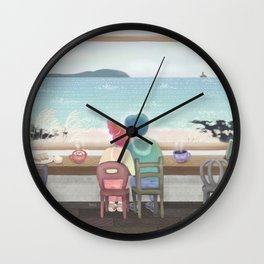 cafe with a view of the ocean Wall Clock