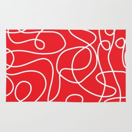 Doodle Line Art   White Lines on Bright Red Rug
