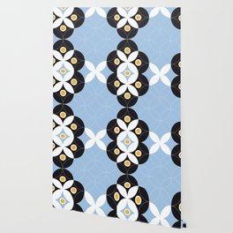 Blue White Black Greek Modern Mosaic Wallpaper