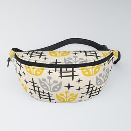 Mid Century Modern Space Flower Pattern Gray and Yellow Fanny Pack