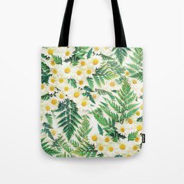 Textured Vintage Daisy and Fern Pattern  Tote Bag