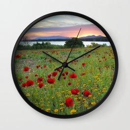 Dreaming. Poppies at sunset Wall Clock