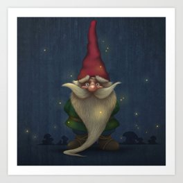 Old Christmas Gnome Art Print