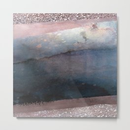 Rose Gold Blush Pink & Blue Watercolor Metal Print