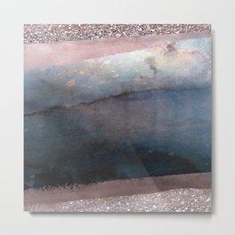 Rose Gold Blush Pink & Blue Watercolor Metal Print