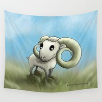 aries Wall Tapestries featuring Aries by Kitsune Arts