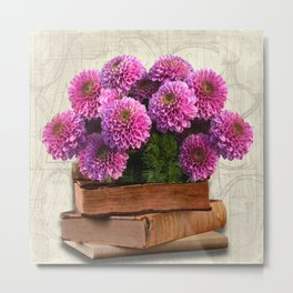 Old Books and Flowers Metal Print