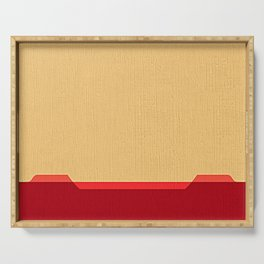 Dark coral red and Beige Line Serving Tray