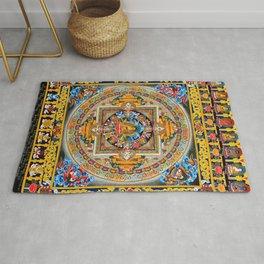 Buddhist Mandala Gold Tangka Wisdom Rug