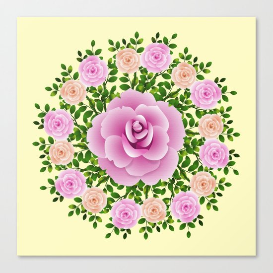 Pink Roses On Yellow Design Canvas Print