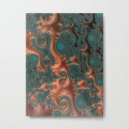 Copper Leaves - Fractal Art Metal Print