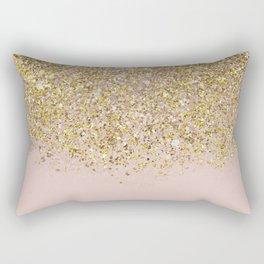 Pink and Gold Glitter Rectangular Pillow
