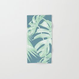 Tropical Leaves Luxe Ocean Teal Blue Pastel Green Hand & Bath Towel