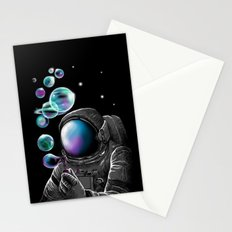 Blowing Bubbles in Space Stationery Cards