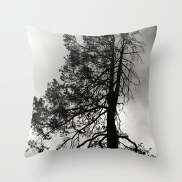 Bare Pine Tree Against Storm Clouds Throw Pillow