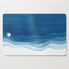 Watercolor blue waves Cutting Board