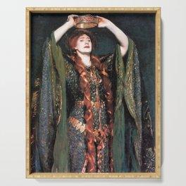 Ellen Terry at Lady MacBeth by John Singer Sargent - Vintage Fine Art Oil Painting Serving Tray