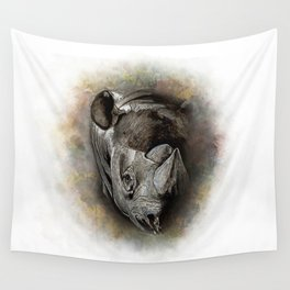 Black Rhino Watercolor Portrait Wall Tapestry