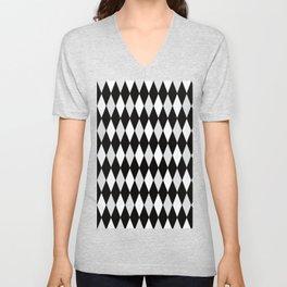 Harlequin Black and White and Gray Unisex V-Neck