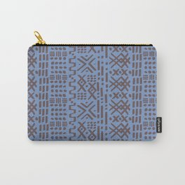 Mudcloth No. 2 in Dusty Blue + Taupe Brown Carry-All Pouch