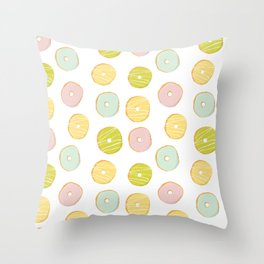Sweet and cute donuts in light colors Throw Pillow