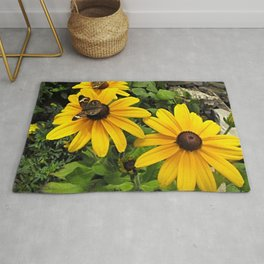 Yellow flowers and butterflies Rug