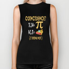 3.14 Pi Pie Coincidence Math Symbols-I Think Not Pun Biker Tank