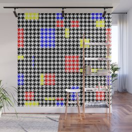 Houndstooth Abstract Black and Colours Modern Art Pattern Wall Mural