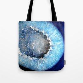 Blue Crystal Geode Tote Bag